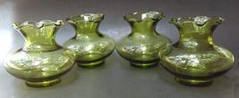 Set of 4 Vintage Olive Green Anchor Hocking Miniature Ruffled Edge Glass Vase - $29.90
