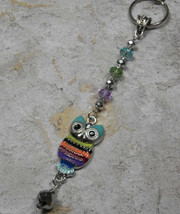 Owl Crystal Beaded Handmade Keychain Split Key Ring Blue Green Purple - $16.48