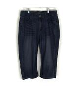 Riders by Lee Womens Jeans Size 12M Dark Wash Crop Embellished Denim Str... - $14.50