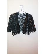 Sequin Paillette Embellished Black Mesh Bolero Waist Length Jacket Petit... - $22.30