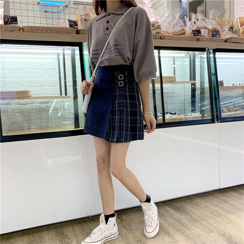 Black Navy Red Mini Plaid Skirt Women Street Style Pleated PLAID SKIRT Plus Size image 8