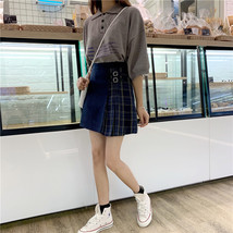 Black Navy Red Mini Plaid Skirt Women Street Style Pleated PLAID SKIRT Plus Size image 8
