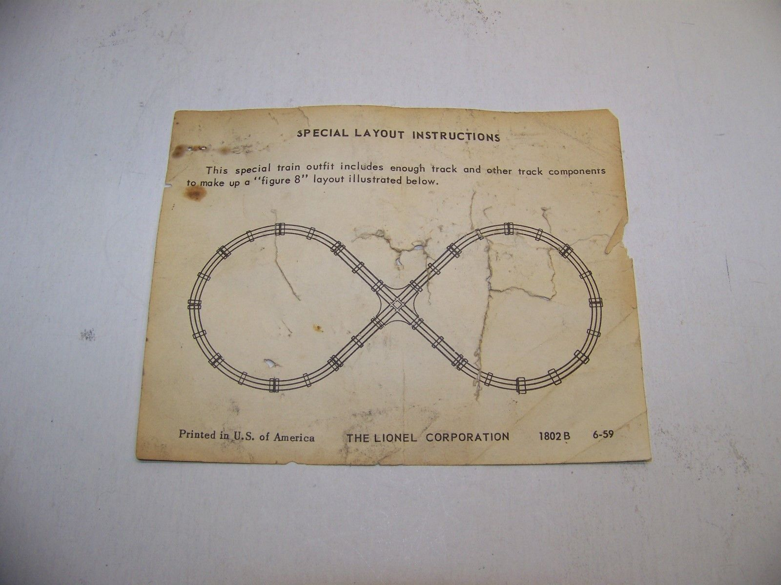 Lionel toy train original paper instruction sheet 1802 B 6-59 special layout