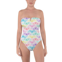 Pastel Triangles Tie Back Strapless Swimsuit - $48.99+