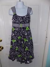 Bonnie Jean Navy Blue Floral Dress Size 12 Girl's EUC - $18.72