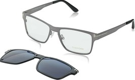 Tom Ford 5475 12V Dark Ruthenium Eyeglasses with Magnetic Blue Clip x 2 pairs - $362.60