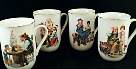 Norman Rockwell Collectors Mugs coffee cups   234 1983 Set 4  porcelain  - $18.69