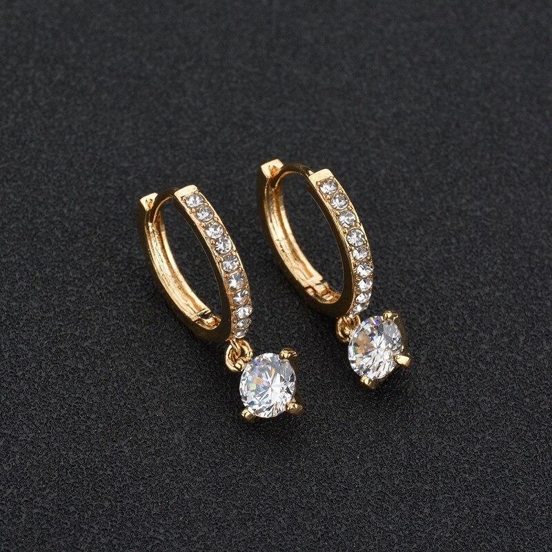 BAHYHAQ - Charm Brincos Geometric Round Crystal Stud Zircon Pendiente Earrings