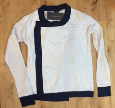 $45 TOMMY HILFIGER TEXTURE-BLOCKED DRAPED-FRONT, WHITE, Size M 8/10 - $24.74