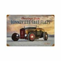Greetings from Bonneville Salt Flats Metal Sign by Ralph Burch - $29.95