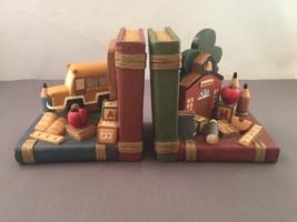 Vintage Teacher ABC School House & Bus Children's Book End Set - $27.99