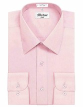 Berlioni Italy Men's Long Sleeve Solid Pink Dress Shirt w/ Defect Size Large