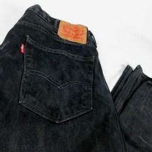 Levis 505 Black Denim Jeans W 34 L 30 Regular Fit Straight Leg 02 - $34.99