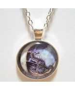 Dragon Sitting on the Moon Glass Cabochon Pendant Necklace SC510 - $6.98