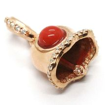925 STERLING SILVER, LITTLE BELL, BELL WITH ZIRCON, CORAL, PENDANT image 4