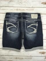 Silver J EAN S Shorts Buckle Studded Denim Jean Stretch Mid Cuffed Short 28 - $24.97
