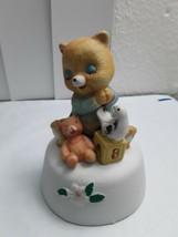 "Vintage Nursery Bear w/ Bird, & Teddy Bear Music Box Plays ""The Way We W... - $18.76"