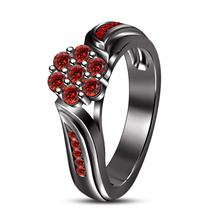 925 Silver Black Rhodium Fn Blue Red Garnet Women's Adorable Engagement Ring  - $66.99