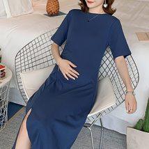 Maternity Dress O Neck Solid Color Split Mom Dress image 4