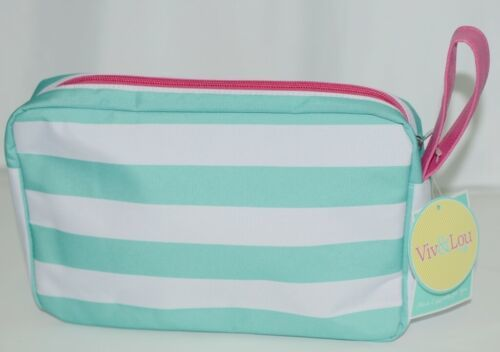 VIV and Lou M230VLSKY Color Mint Hot Pink White Cosmetic Bag