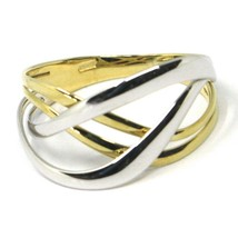 SOLID 18K YELLOW WHITE GOLD BAND RING, WOVEN, TWISTED, ONDULATE MULTI WIRES image 1