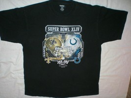 Nfl 2010 Super Bowl Xliv South Florida Colts Saints Reebok Black Tee Men Size L - $7.99