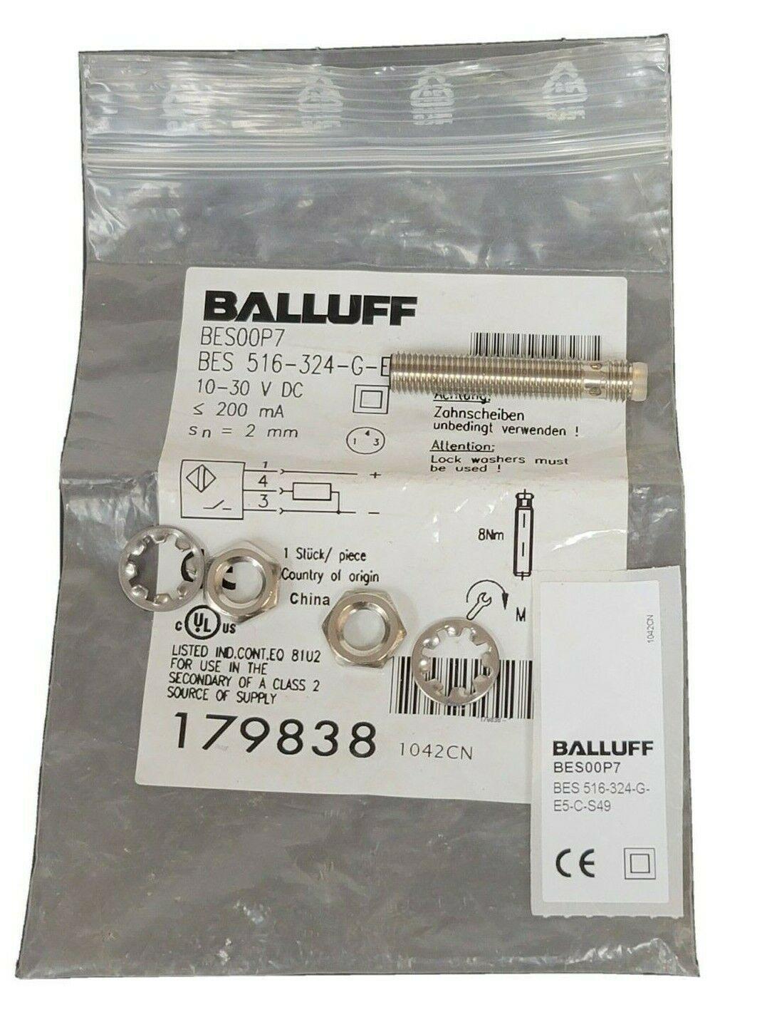 NEW BALLUFF BES 516-324-G-E5-C-S49 PROXIMITY SENSOR BES00P7 10-30VDC