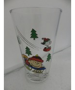 Peanuts Gang - 14 ounce Glass/Tumbler - Charlie Brown on a Sled - dated ... - $9.65