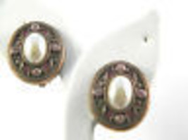 Vintage Copper Colored Earrings with Faux Pearls and Rhinestones - $13.49