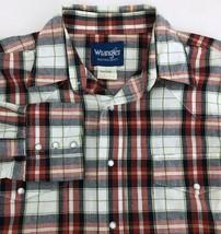 VTG Wrangler Plaid Western Pearl Snap Shirt Mens Large Red Blue Green White - $17.67