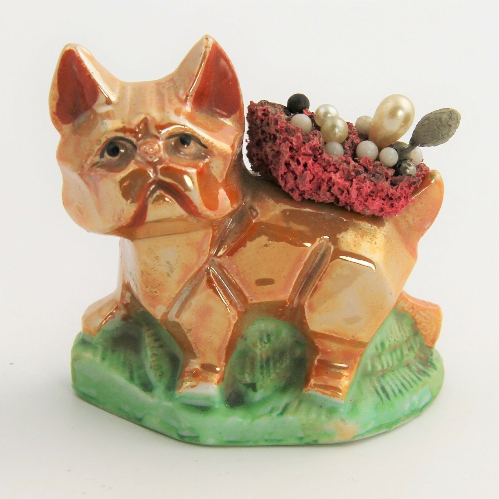 Primary image for VINTAGE MADE IN JAPAN  LUSTERWARE LUSTER LUSTRE ART DECO CAT OR DOG PIN CUSHION