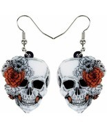 Sugar Skull Earrings Gothic Halloween Dangle Jewelry Day of the Dead Flo... - £13.80 GBP