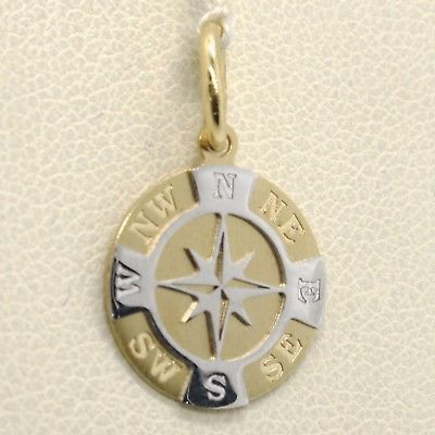 SOLID 18K YELLOW WHITE GOLD 13 MM WIND ROSE COMPASS CHARM PENDANT, MADE IN ITALY