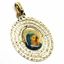 18K YELLOW OVAL GOLD BIG 28mm MEDAL VIRGIN MARY TRIPLE WORKED FRAME & ENAMEL image 2