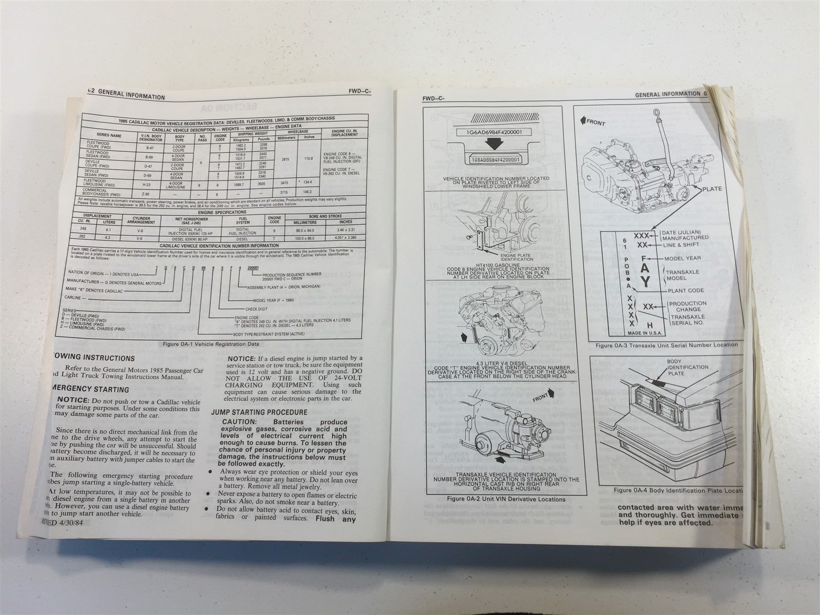 1985 Cadillac FWD DeVille and Fleetwood Service Information Final Edition