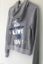 """NWT Juicy Couture Gray """"Silver Lining"""" Hoodie JC Tiara Terry Cloth Jacket L $138 - $64.00"""