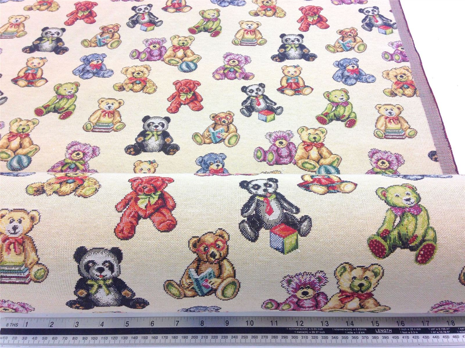 New World Tapestry Teddy Bear Fabric Material *3 Sizes*