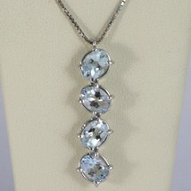 18K WHITE GOLD NECKLACE, OVAL CUT 4 AQUAMARINE PENDANT WITH VENETIAN CHAIN image 1