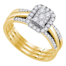 14k Yellow Gold Round Diamond Amour Bridal Wedding Engagement Ring Band Set 1/2 - $899.00