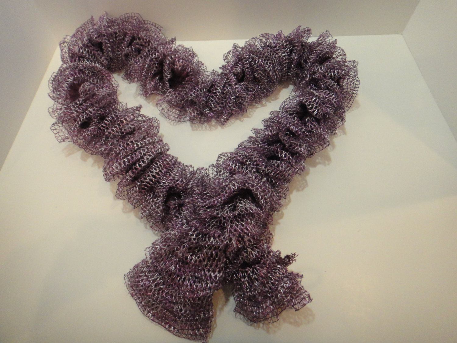 Primary image for Knit Scarf - Hand Knit Ladies Flirty Romantic Metallic Purple Sashay Ruffle Yarn