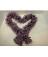 Knit Scarf - Hand Knit Ladies Flirty Romantic Metallic Purple Sashay Ruf... - $19.99