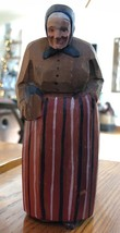 Antique Hand Carved Painted Wood Old Woman with Umbrella Figurine - $34.60