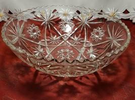 "EARLY AMERICAN PRECUT EAPG STAR OF DAVID GLASS SERVING BOWL 10 3/4"""