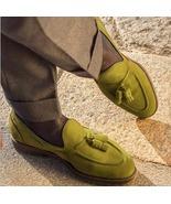 Hot Sale Olive Green Suede Tassels Loafer Formal Wear Shoes - $158.99