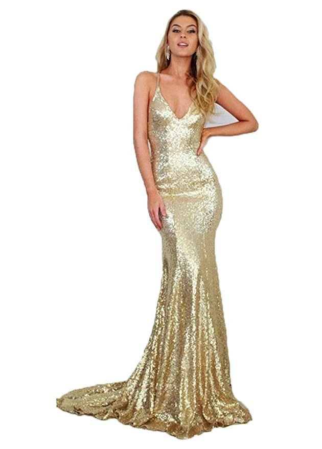 Women's Long Mermaid Gold Sequins Prom Dresses Gown Sexy Formal Evening Dress