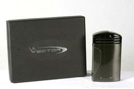 New Vector Megatron Triple Flame Gunmetal Tabletop Cigar Lighter - $98.44