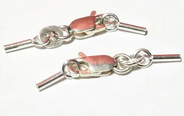 925 STERLING SILVER 4mm CRIMP SET w/ 9mm LOBSTER CLAW - 0.8mm I.D.