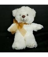 Teddy Bear Brown Bow Valentines Plush Tan Off White Stuffed Animal Heart... - $16.82