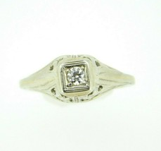 Art Deco 18k White Gold Genuine Natural Diamond Filigree Ring .10ct (#J738) - $300.00
