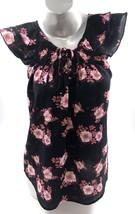 No Boundaries Top Sz Medium Black Pink Floral Peasant Boho Flutter Sleev... - $7.92